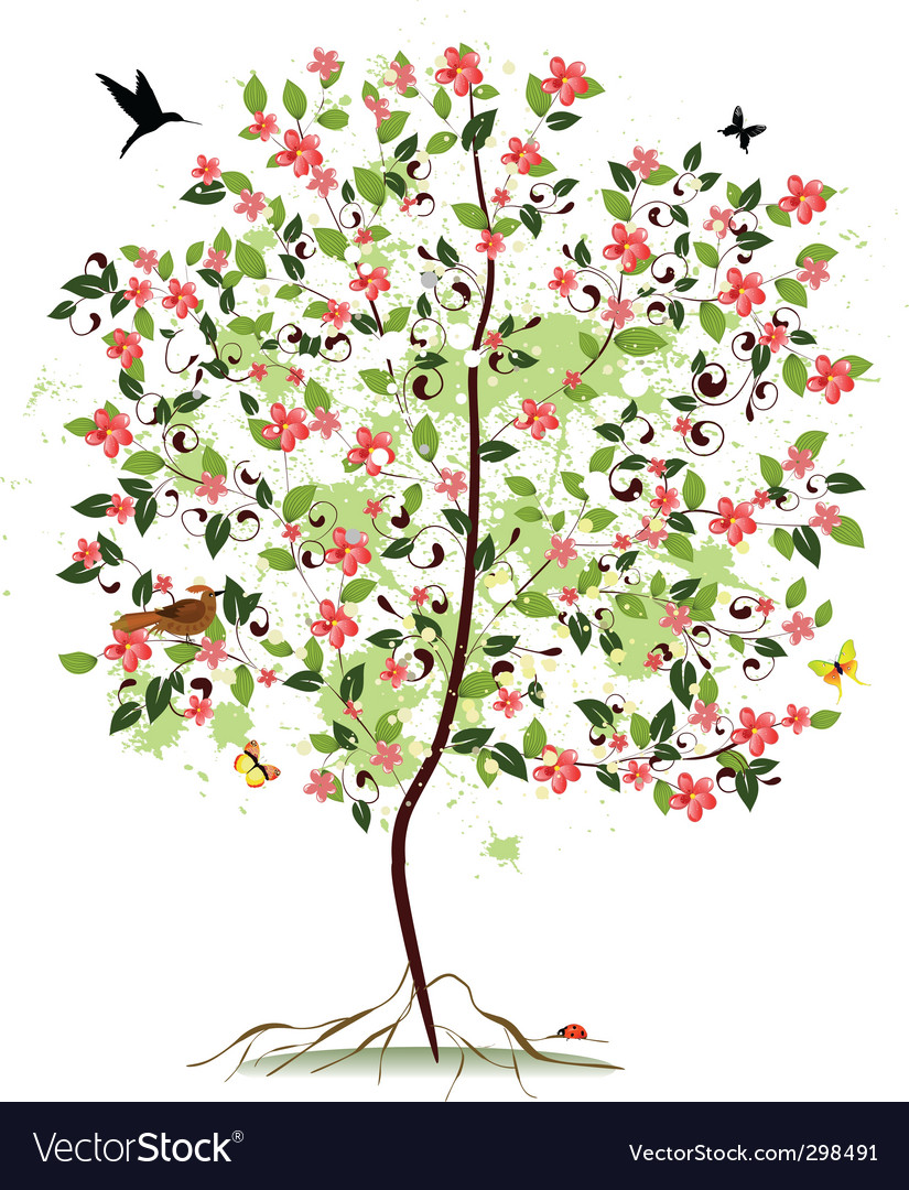 Apple blossom tree vector | Price: 1 Credit (USD $1)