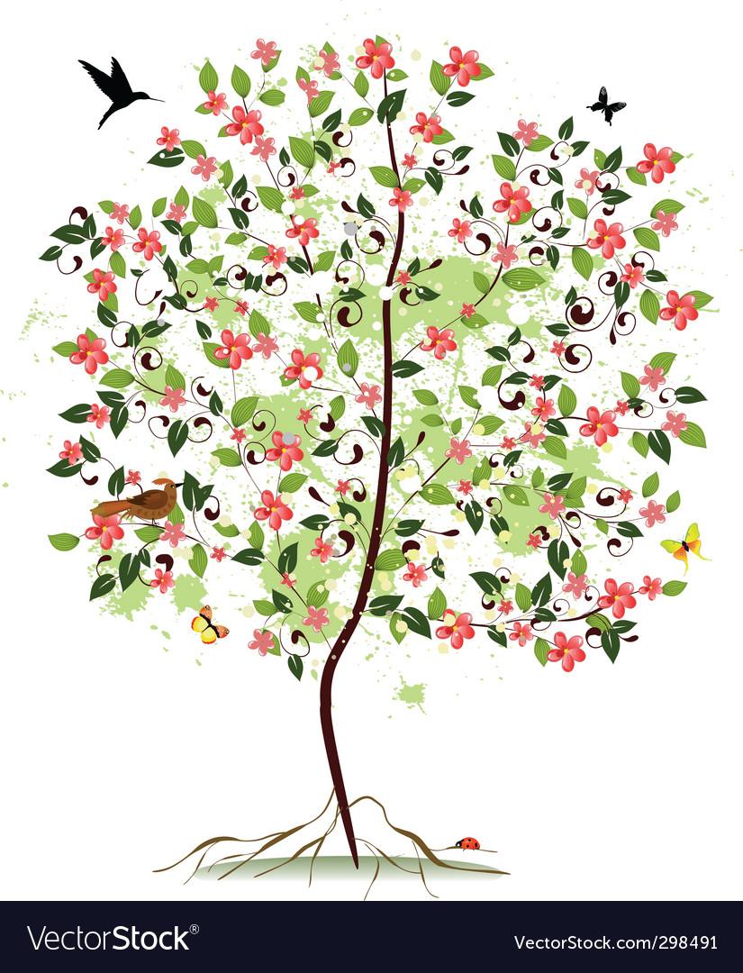 Apple blossom tree vector | Price: 1 Credit (USD $1)