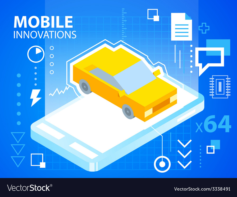 Bright mobile phone and car on blue backgrou vector | Price: 3 Credit (USD $3)