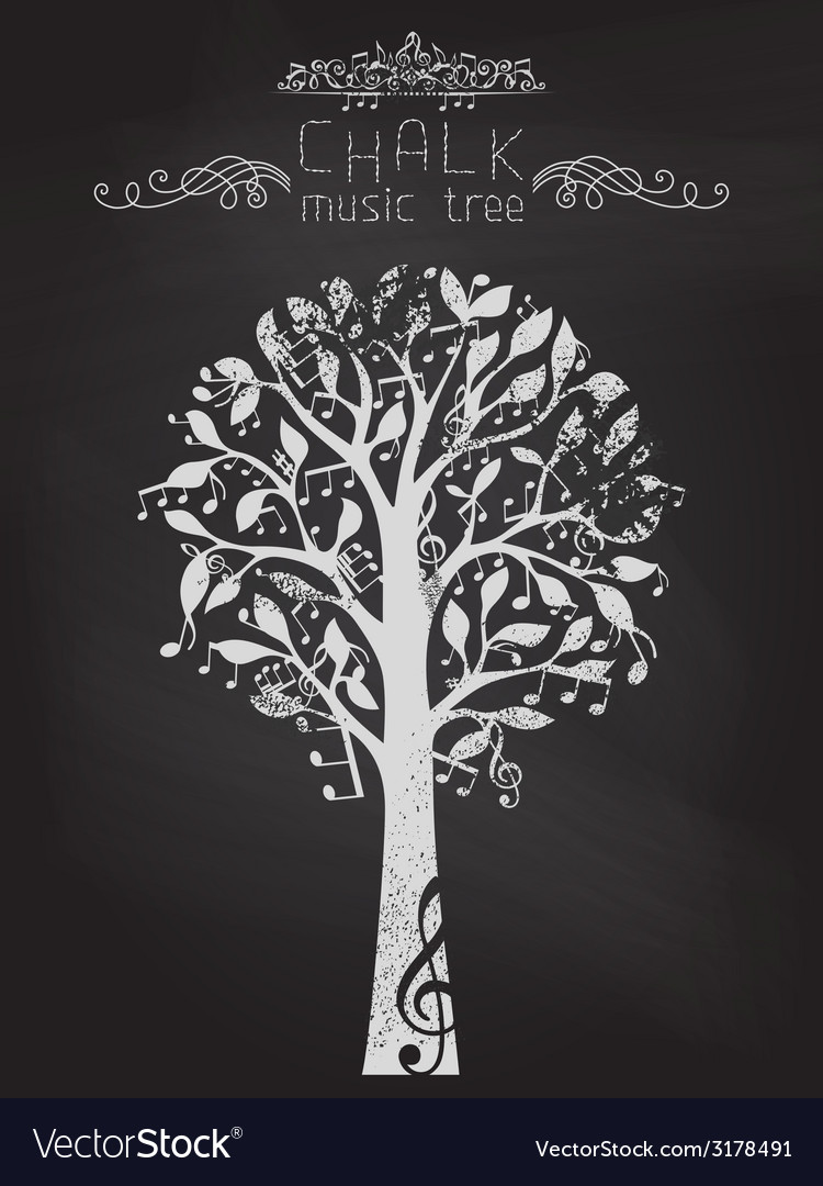 Chalk music tree on blackboard background vector | Price: 1 Credit (USD $1)