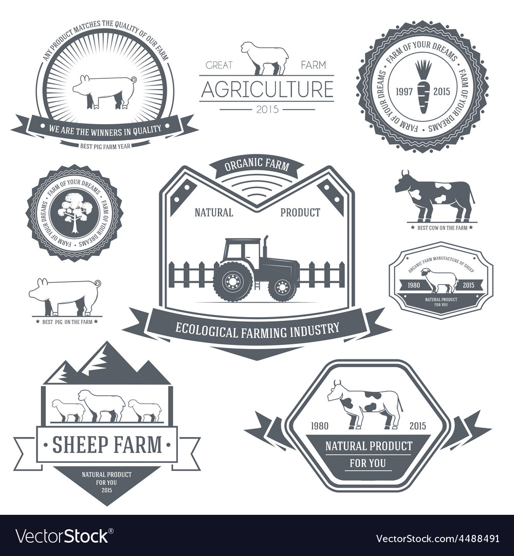 Farm label template of emblem element for your vector | Price: 1 Credit (USD $1)