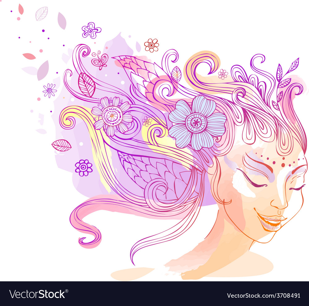 Floral hairstyle vector   Price: 1 Credit (USD $1)