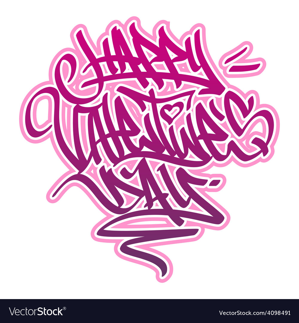 Happy valentines day graffiti vector | Price: 1 Credit (USD $1)