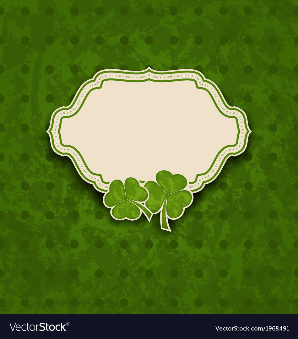 Holiday card with clovers for st patricks day vector | Price: 1 Credit (USD $1)