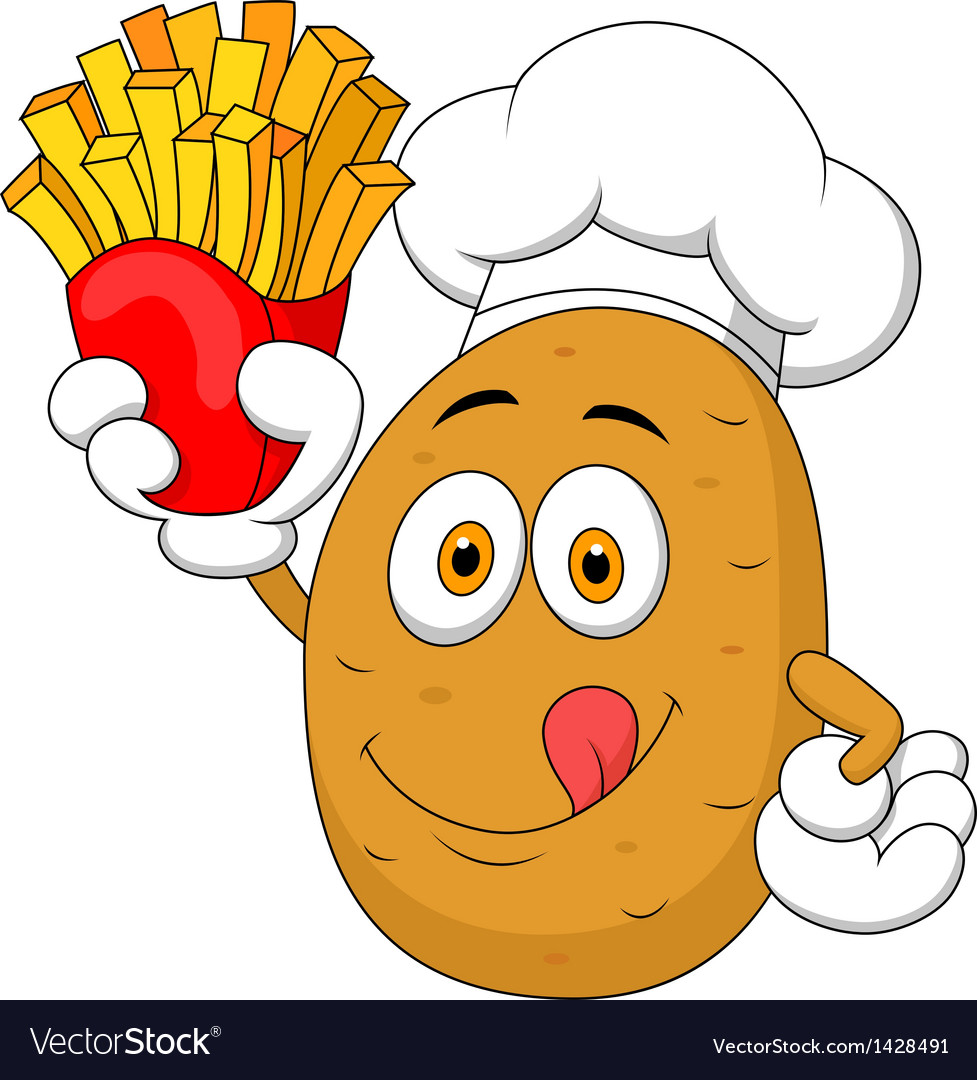 Potato chef holding up a french fries vector | Price: 1 Credit (USD $1)