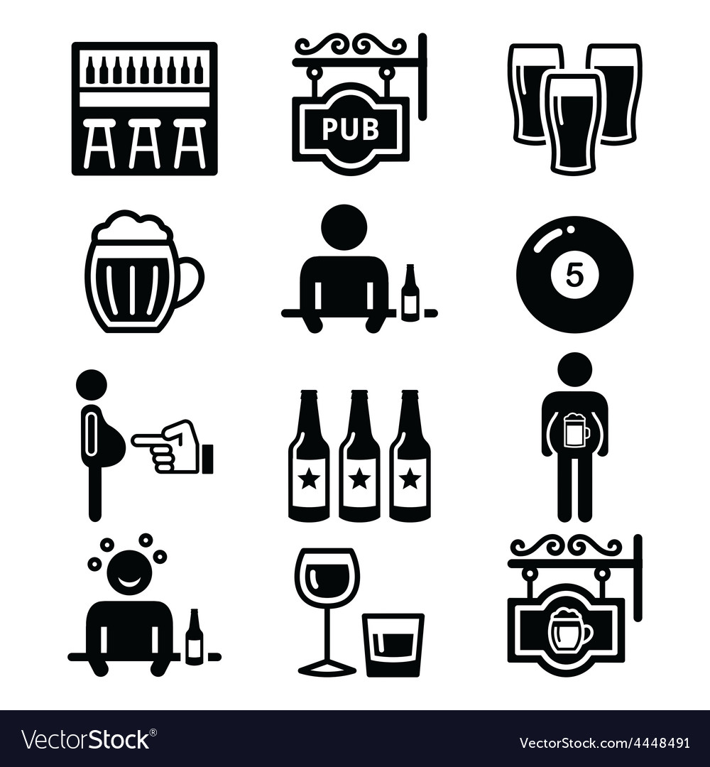 Pub drinking alcohol beer belly icons set vector | Price: 1 Credit (USD $1)