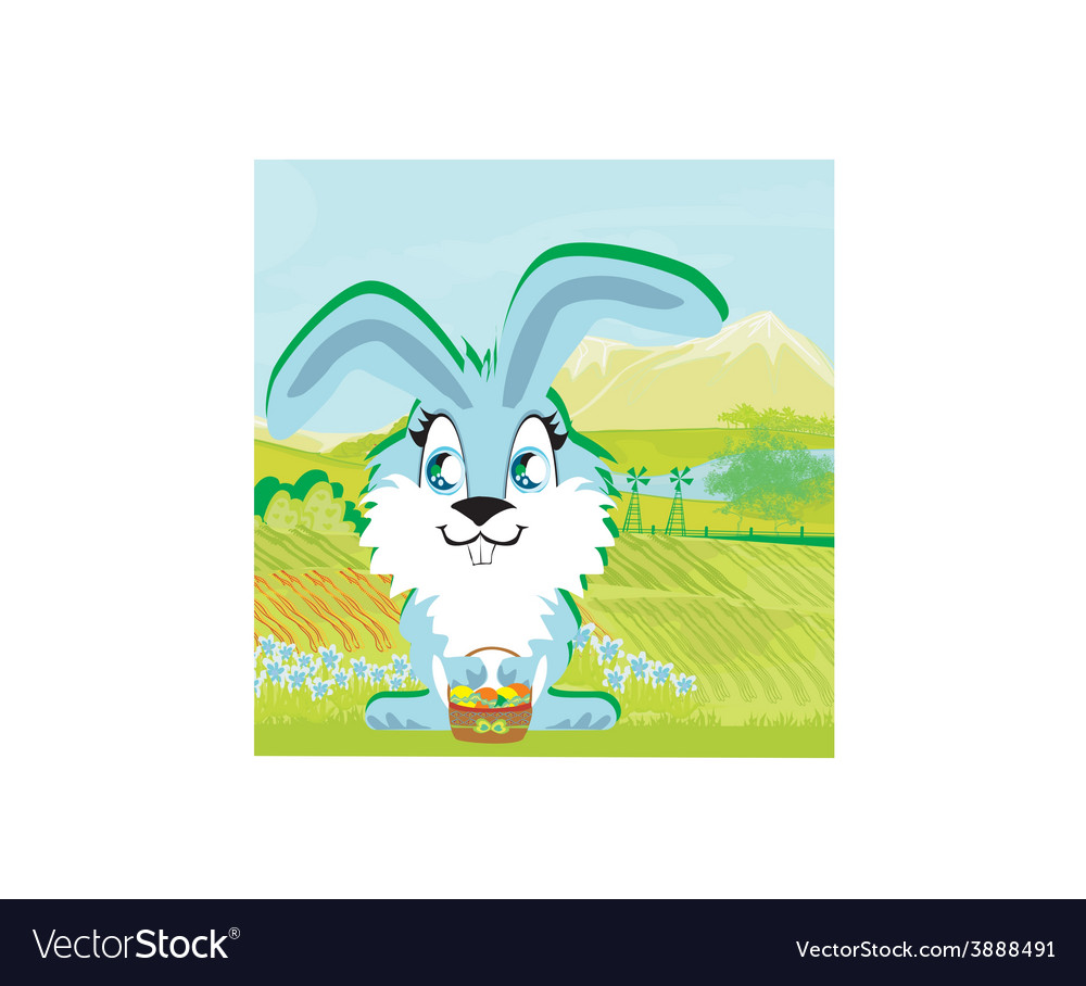Rabbit and a farm in a beautiful nature vector | Price: 1 Credit (USD $1)