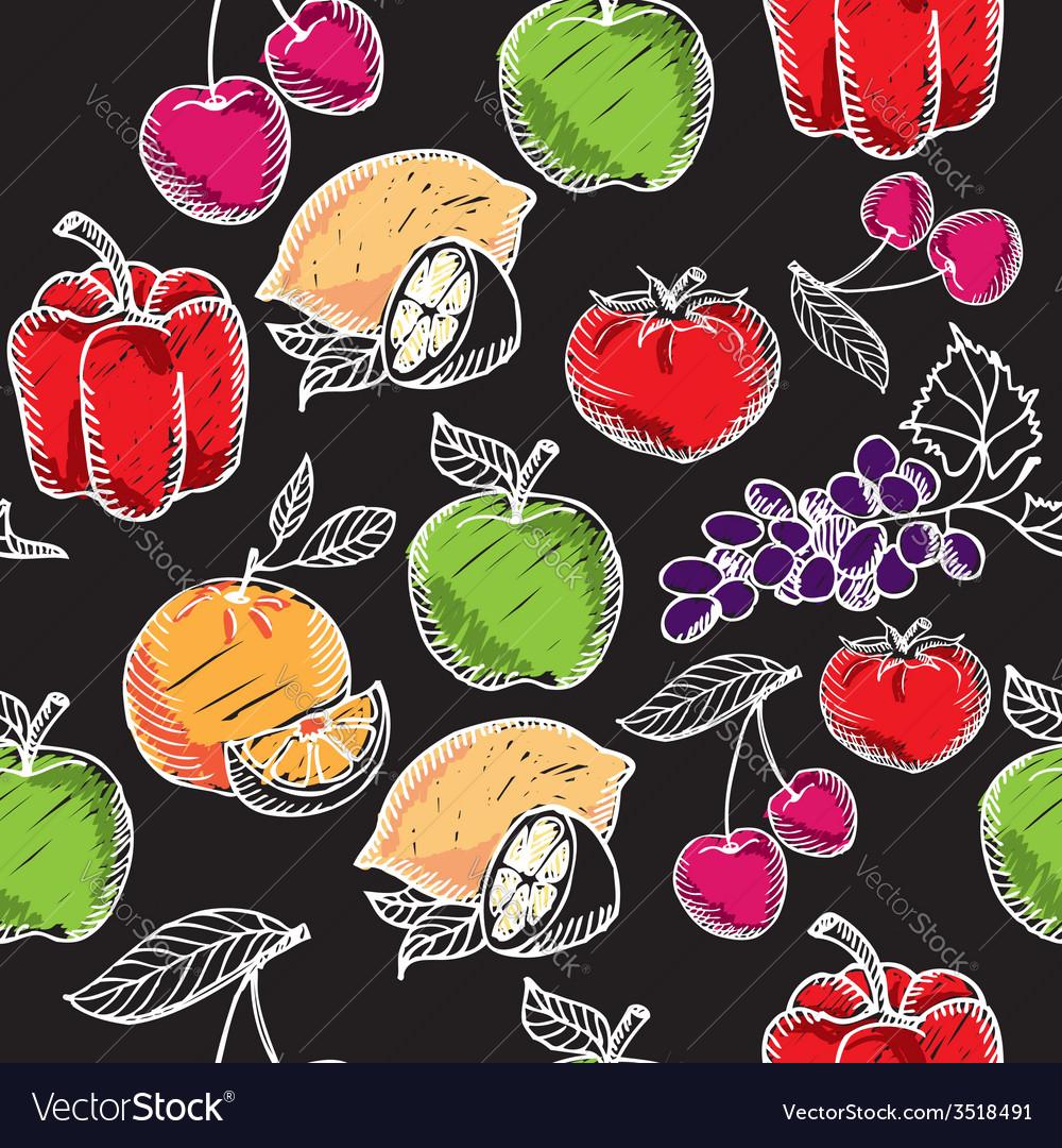 Seamless pattern fruitchalkboard vector   Price: 1 Credit (USD $1)