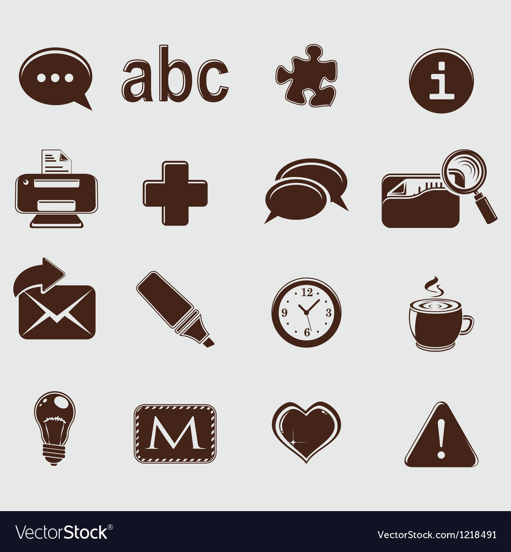 Web set icons on grey vector | Price: 1 Credit (USD $1)