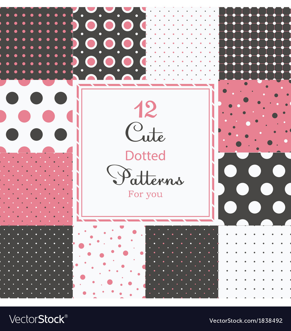 12 cute different dotted seamless patterns vector | Price: 1 Credit (USD $1)