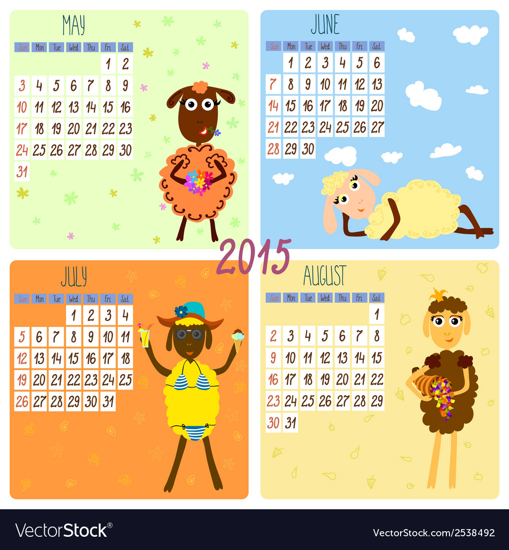 2015 calendar with cartoon and funny sheep summer vector | Price: 1 Credit (USD $1)