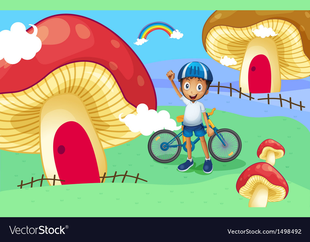 A young biker near the giant mushroom house vector   Price: 1 Credit (USD $1)
