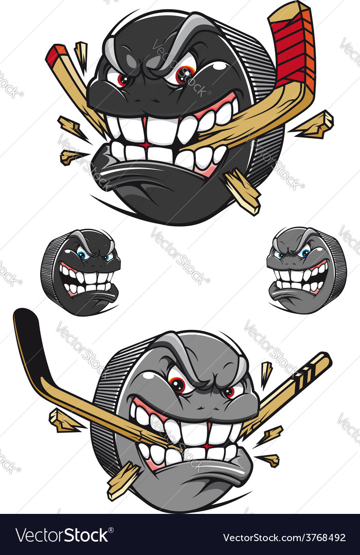 Angry evil hockey puck chomping a stick vector | Price: 1 Credit (USD $1)