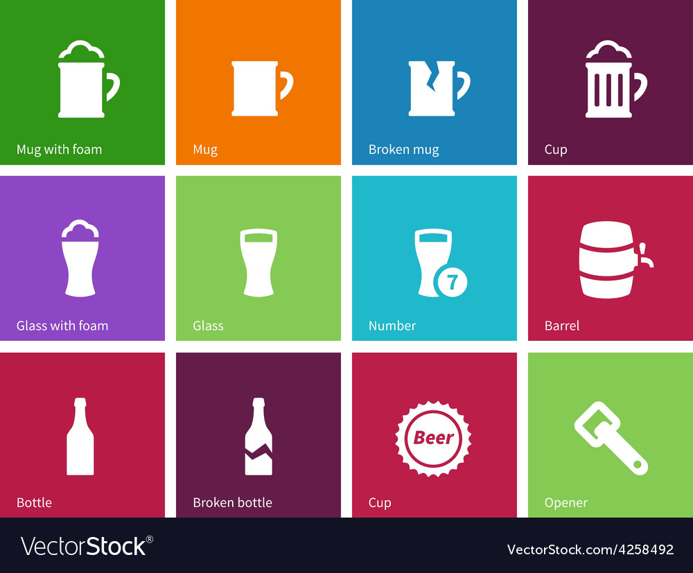 Beer icons on color background vector | Price: 1 Credit (USD $1)