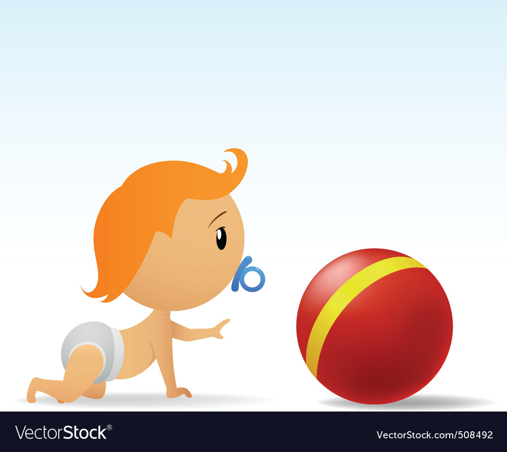 Cartoon cute baby crawling to red ball vector   Price: 1 Credit (USD $1)
