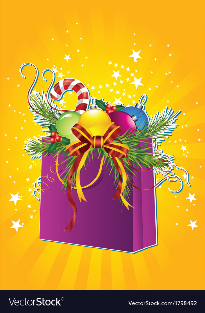 Happy new year card with christmas gift bag vector | Price: 3 Credit (USD $3)