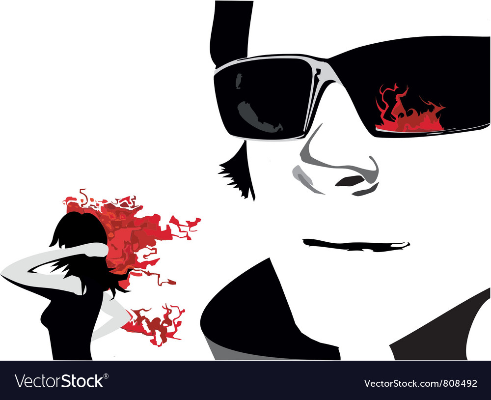 Man face glass girl fire vector | Price: 1 Credit (USD $1)