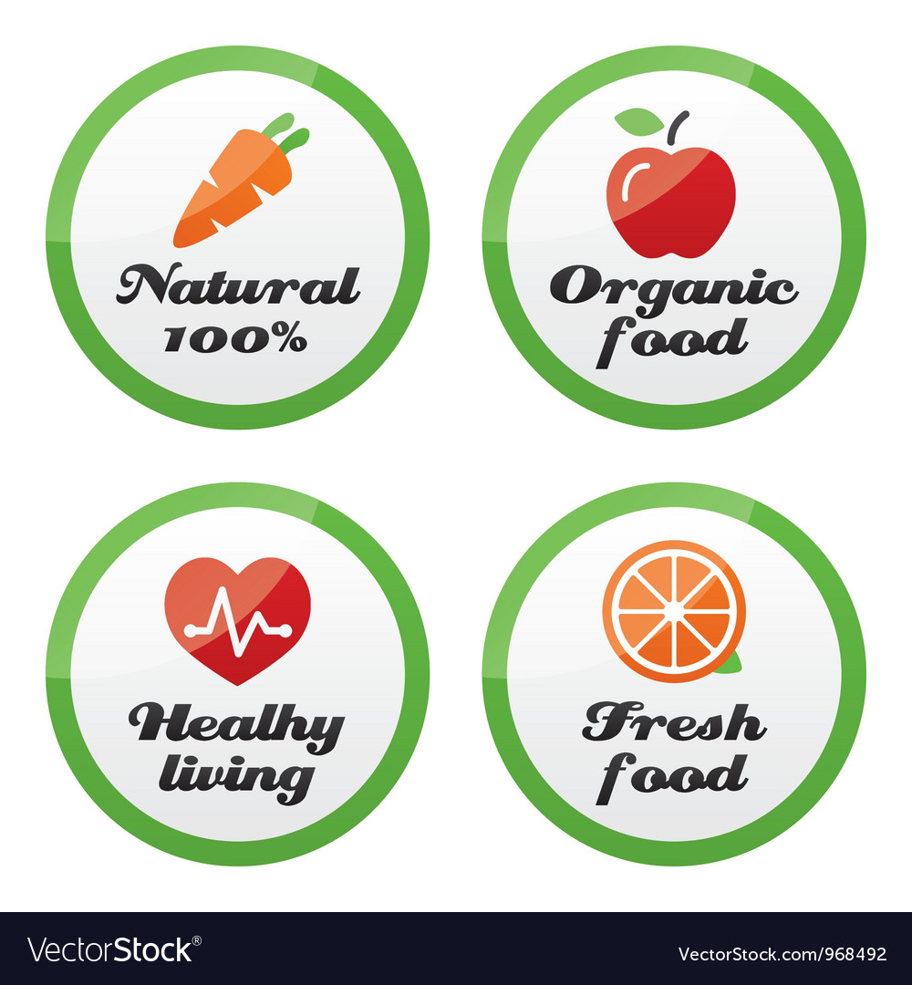 Organic food fresh and natural products icons vector | Price: 1 Credit (USD $1)