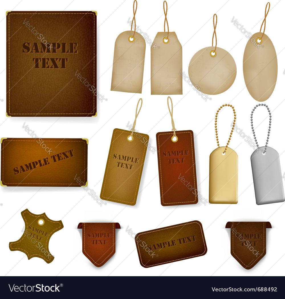 Set of leather and jeans labels and tags vector | Price: 1 Credit (USD $1)