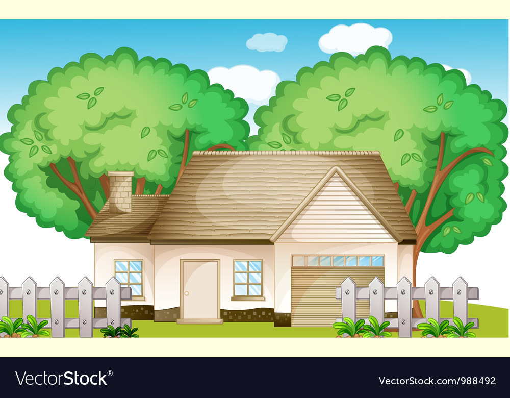 Suburban house vector | Price: 1 Credit (USD $1)