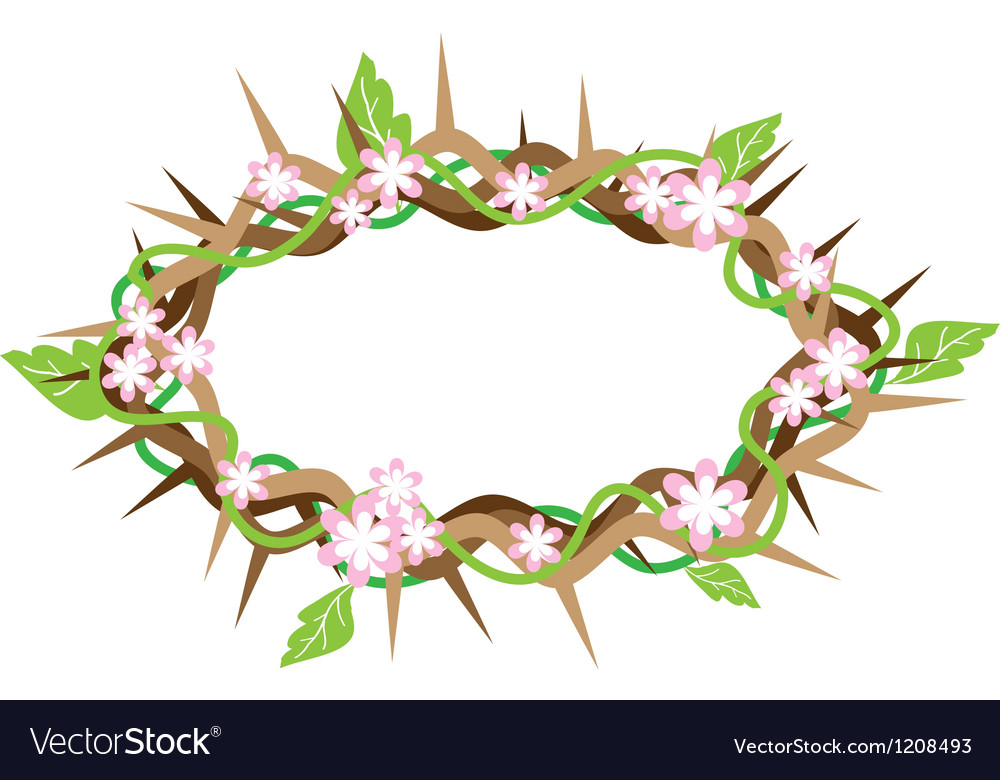 A crown of thorns with fresh leaves vector | Price: 1 Credit (USD $1)