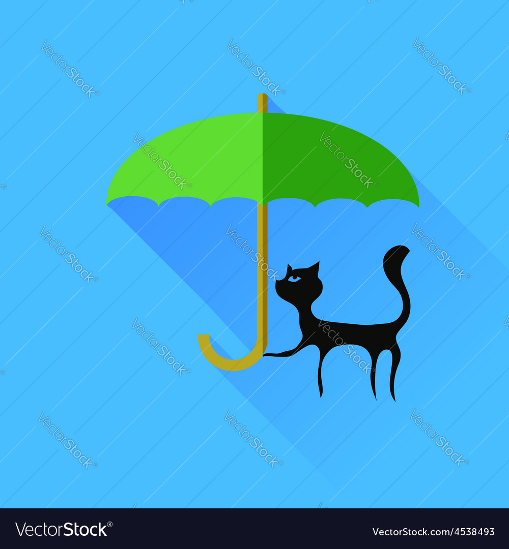 Black cat and green umbrella vector | Price: 1 Credit (USD $1)