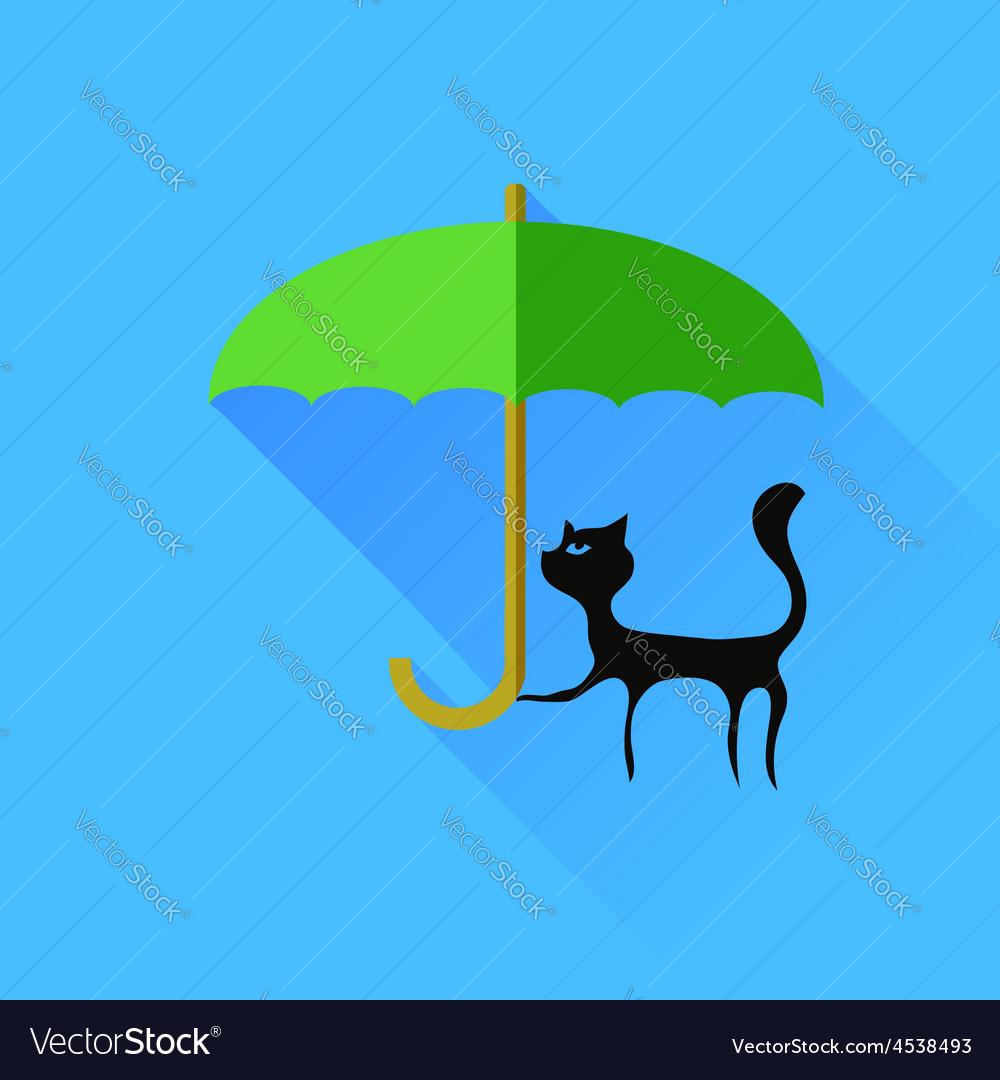 Black cat and green umbrella vector | Price: 1 Credit (USD $1)