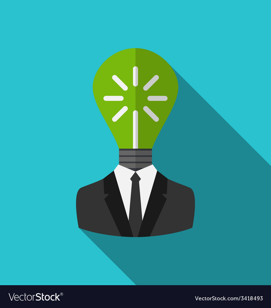 Concept lamp of new idea as out of head vector | Price: 1 Credit (USD $1)