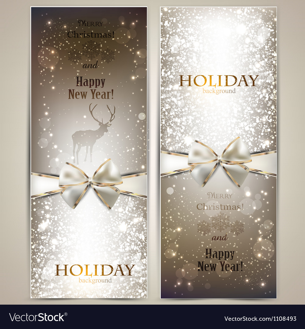 Elegant greeting cards with bows and copy space vector | Price: 1 Credit (USD $1)
