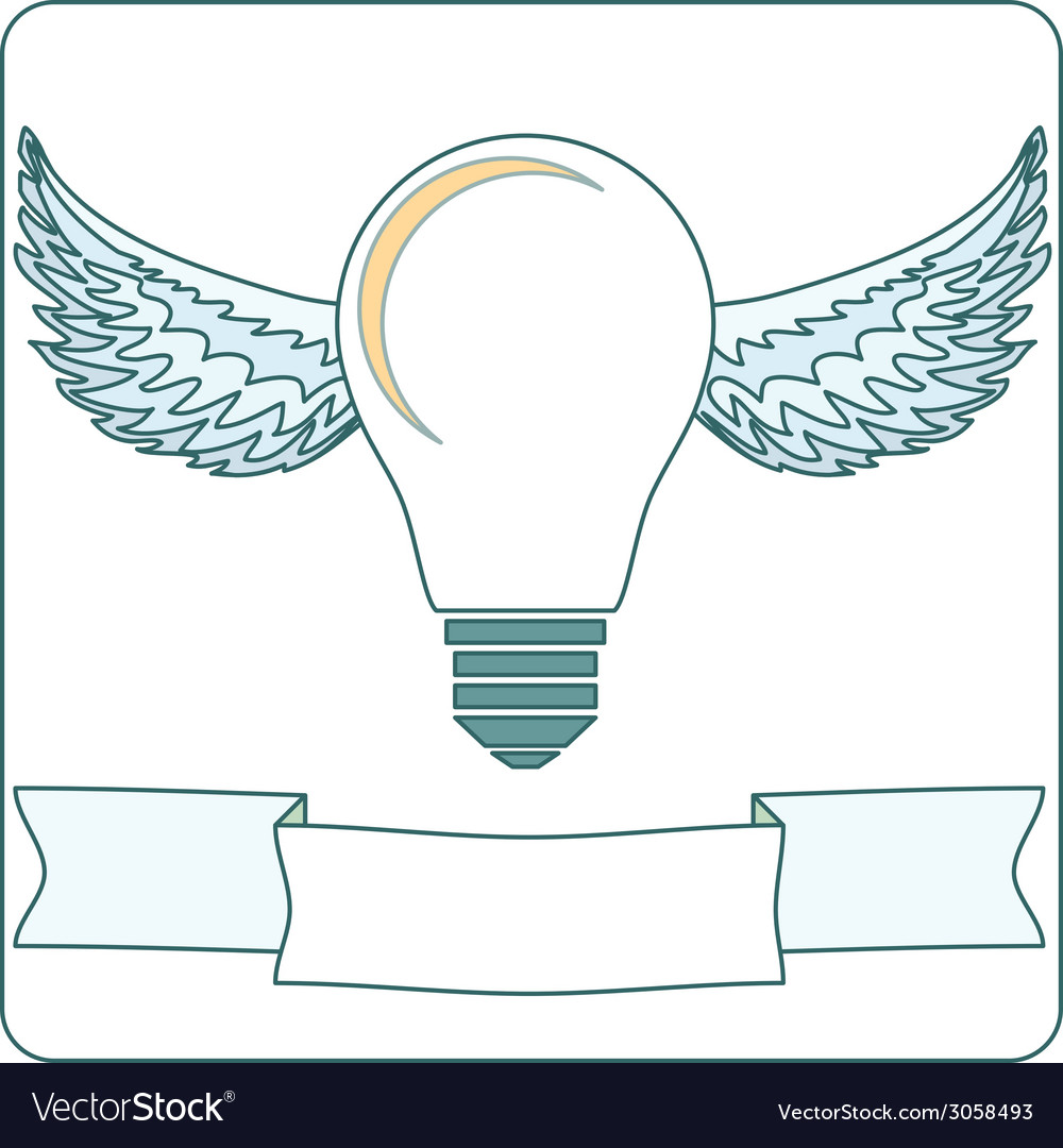 Light bulb with wings and banner stock vector | Price: 1 Credit (USD $1)