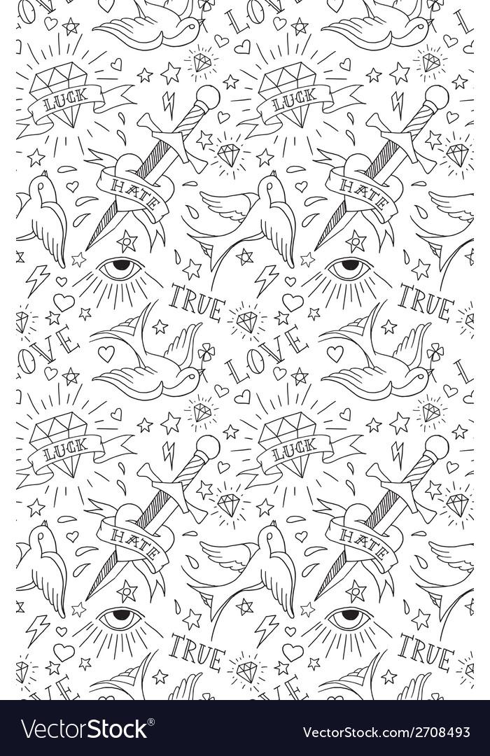 Old school tattoo pattern vector | Price: 1 Credit (USD $1)