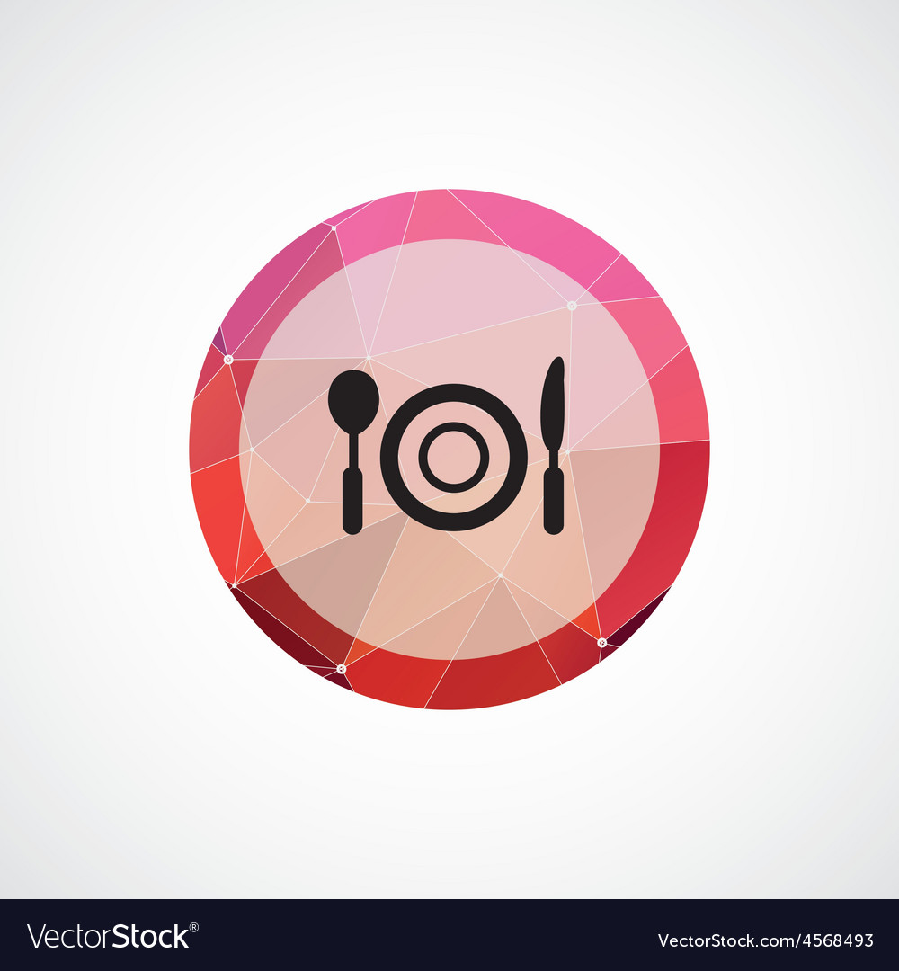 Restaurant circle pink triangle background icon vector | Price: 1 Credit (USD $1)
