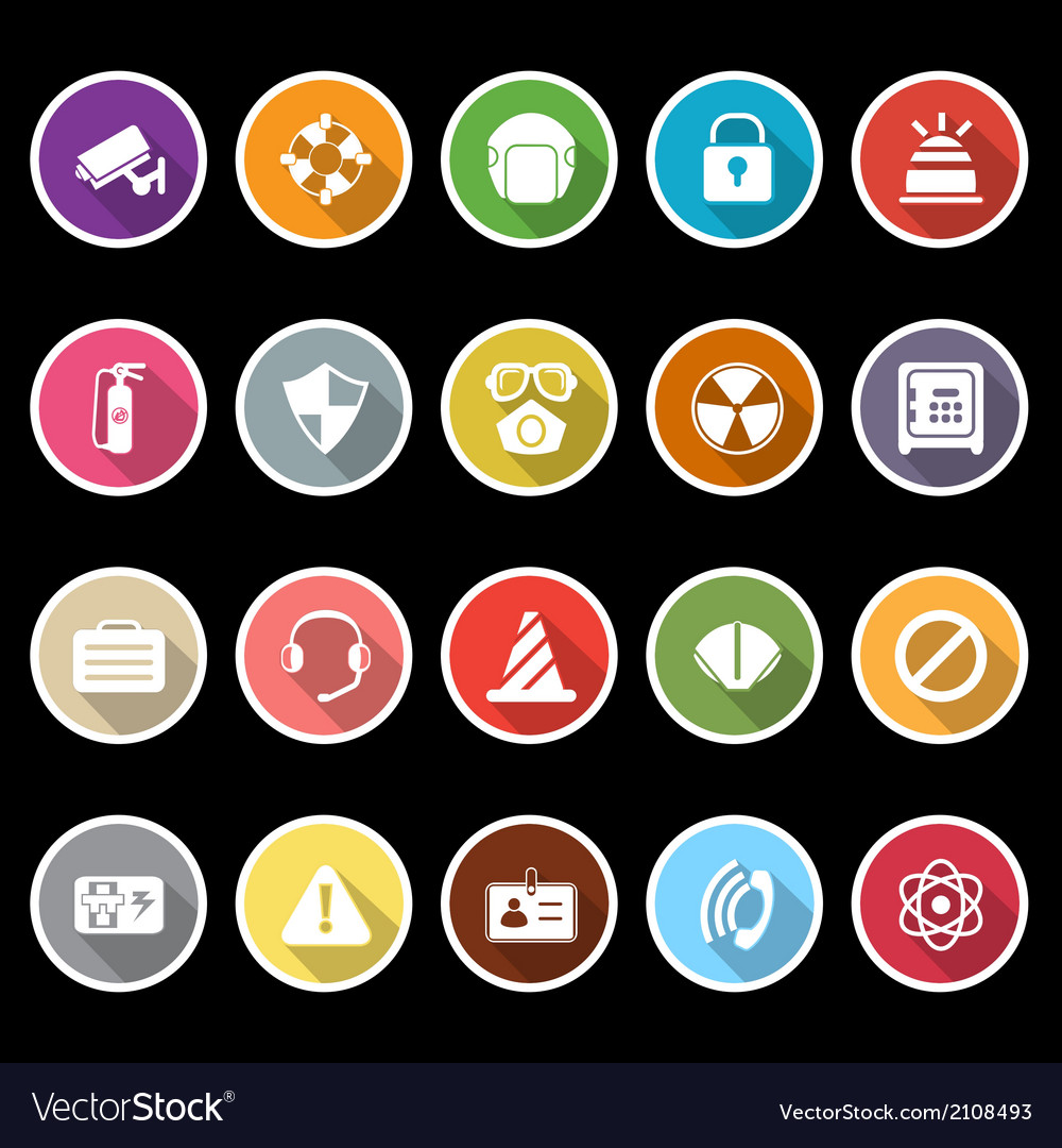 Safety icons with long shadow vector | Price: 1 Credit (USD $1)