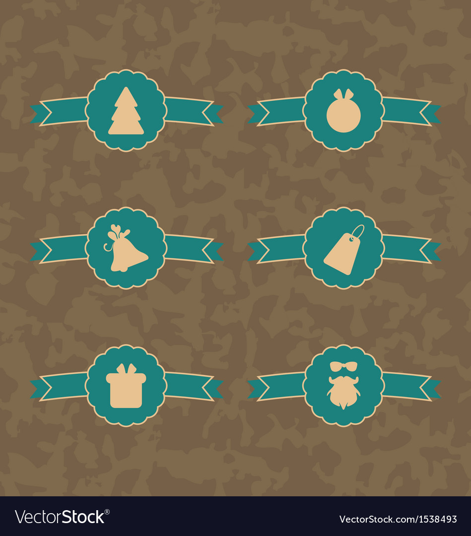 Set christmas decoration vintage labels vector | Price: 1 Credit (USD $1)