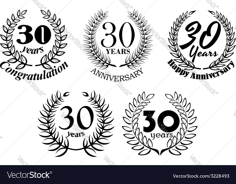 Set of 30 years anniversary laurel wreaths vector | Price: 1 Credit (USD $1)
