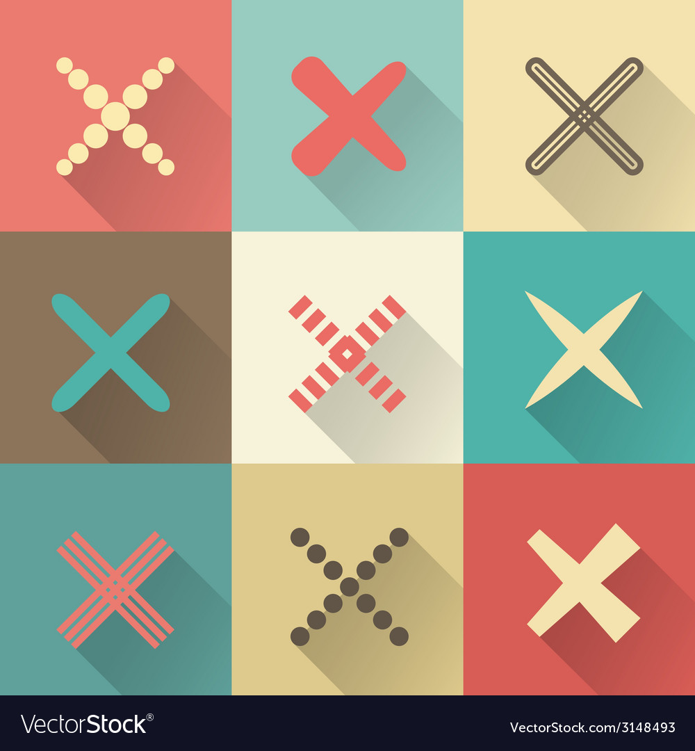 Set of different retro crosses and tics vector | Price: 1 Credit (USD $1)