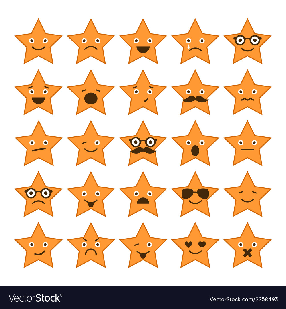 Set of stars with different emotions vector | Price: 1 Credit (USD $1)