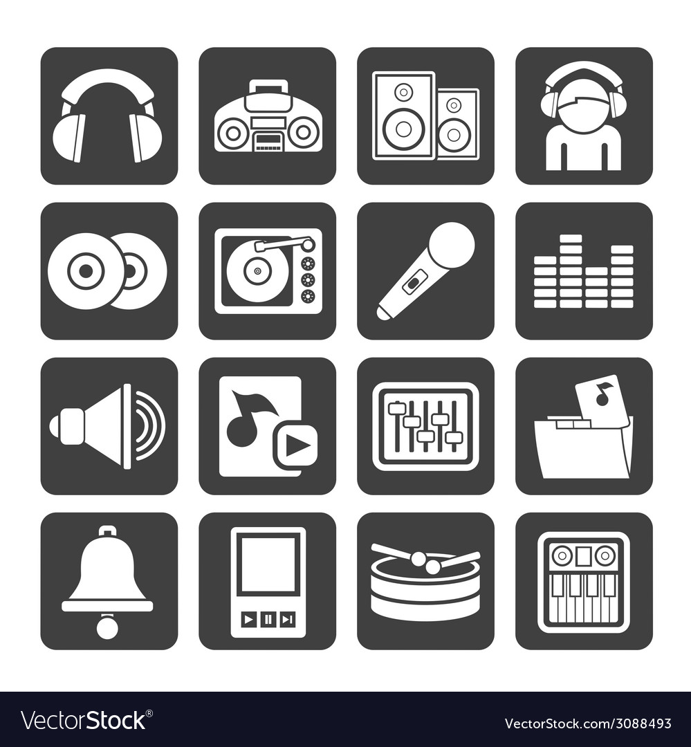Silhouette music and sound icons vector | Price: 1 Credit (USD $1)