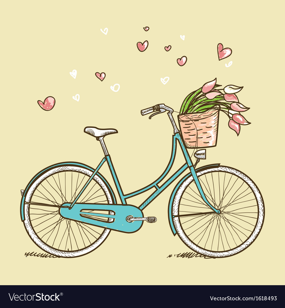 Vintage bicycle with flowers vector | Price: 1 Credit (USD $1)