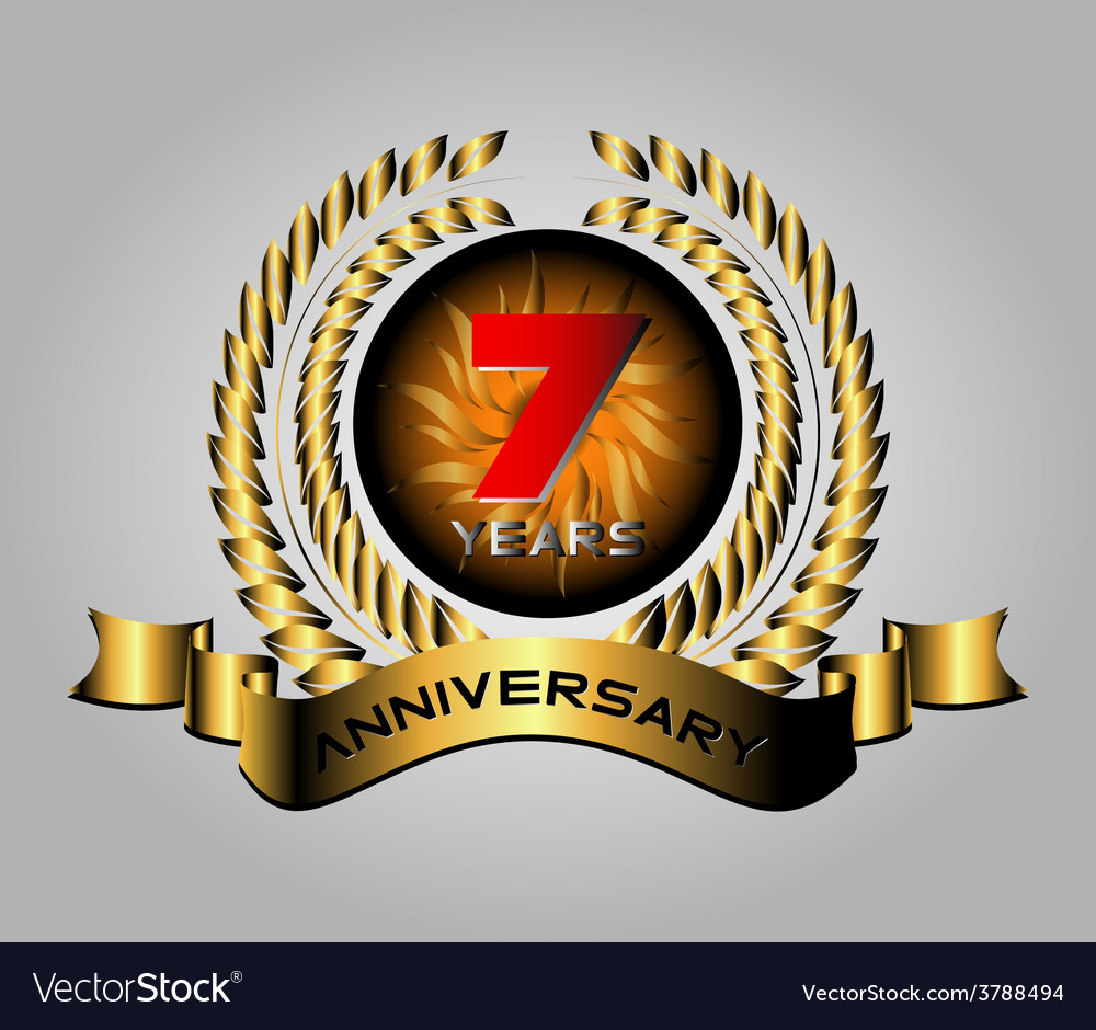 7 years celebration anniversary label vector | Price: 1 Credit (USD $1)