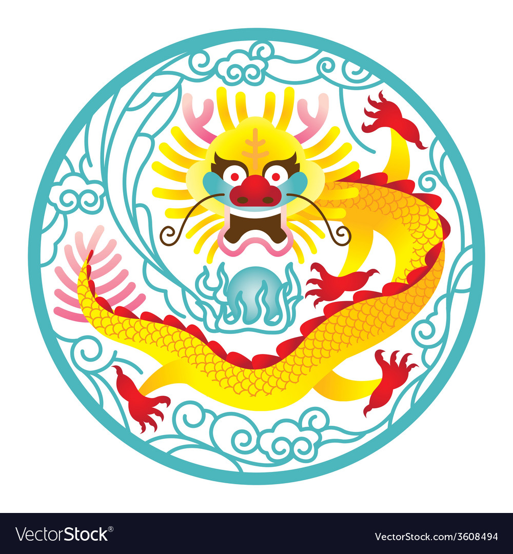 Chinese dragon in circle vector | Price: 1 Credit (USD $1)