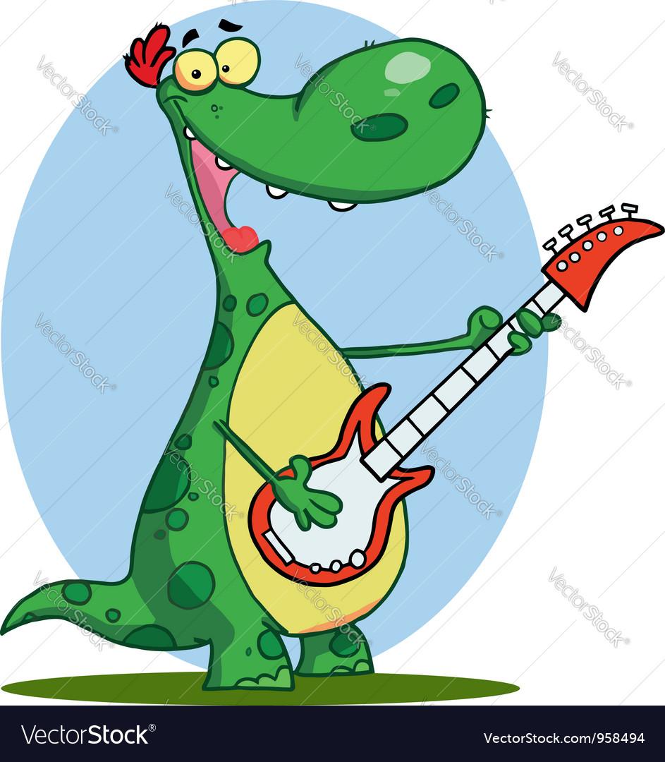 Dinosaur plays a guitar vector   Price: 1 Credit (USD $1)