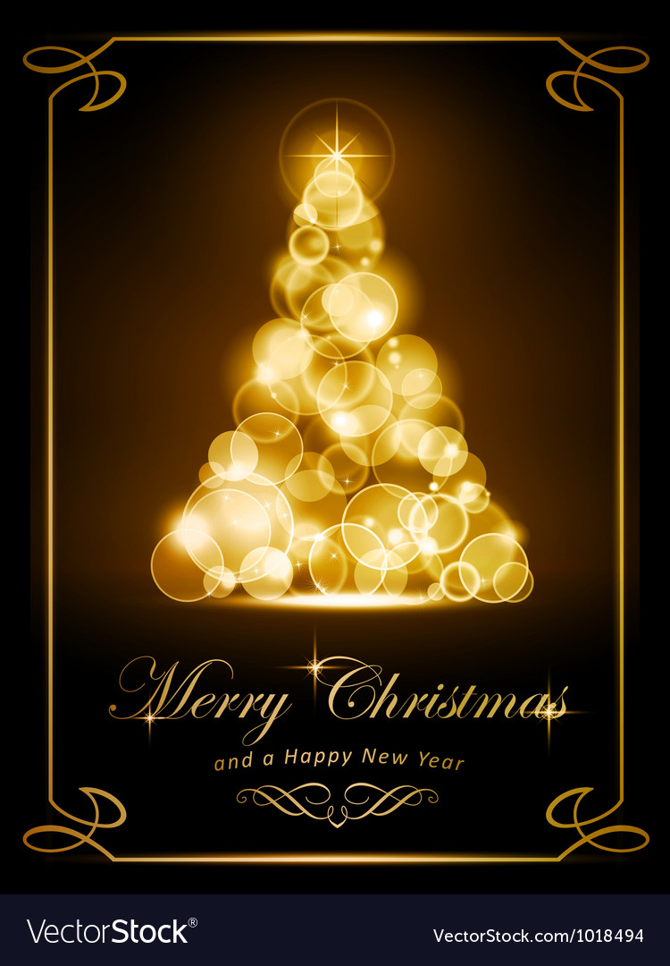 Elegant golden christmas card vector | Price: 1 Credit (USD $1)