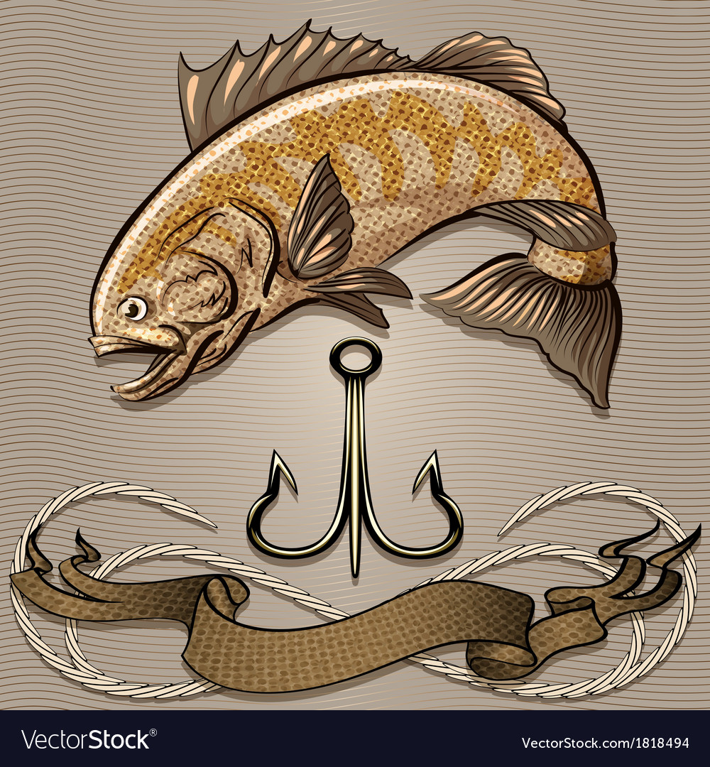 The fish and treble hook vector | Price: 3 Credit (USD $3)