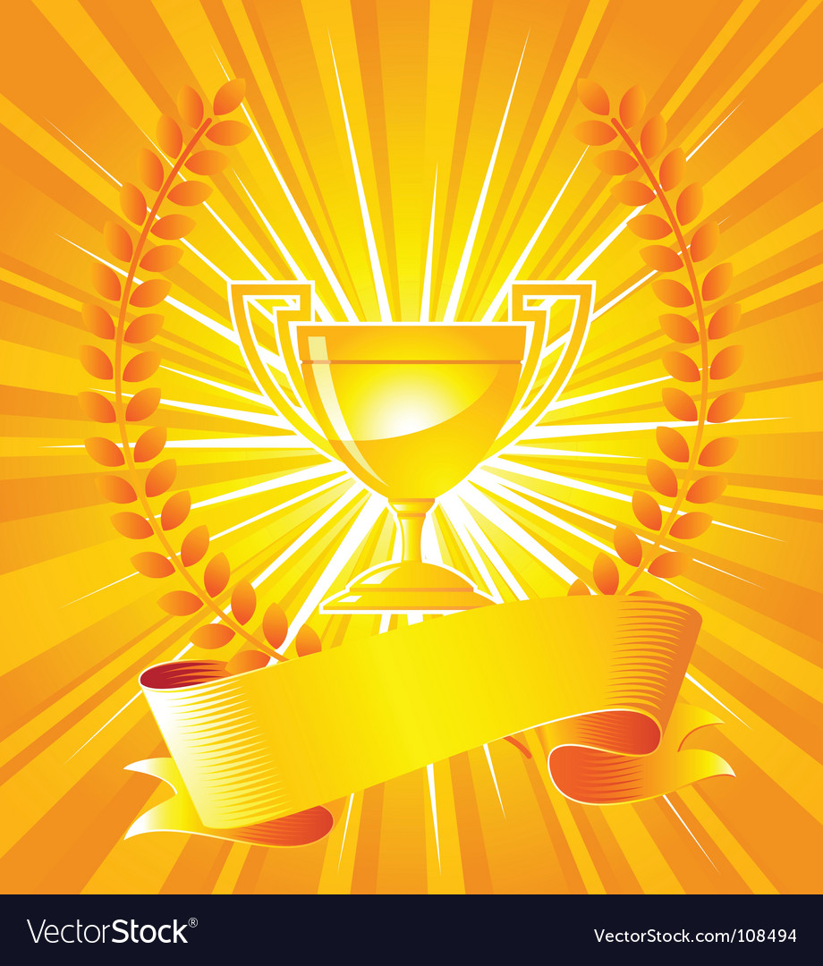 Gold trophy with laurel wreath vector | Price: 1 Credit (USD $1)