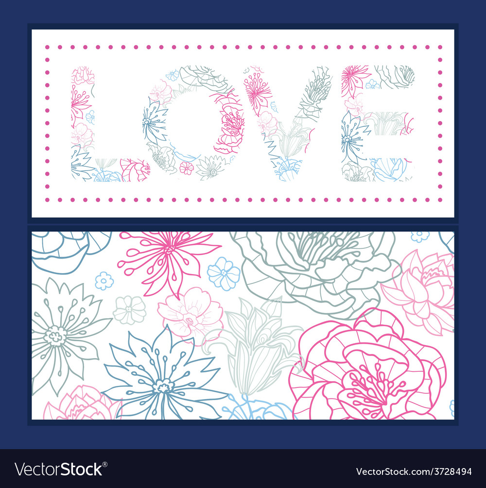 Gray and pink lineart florals love text vector | Price: 1 Credit (USD $1)