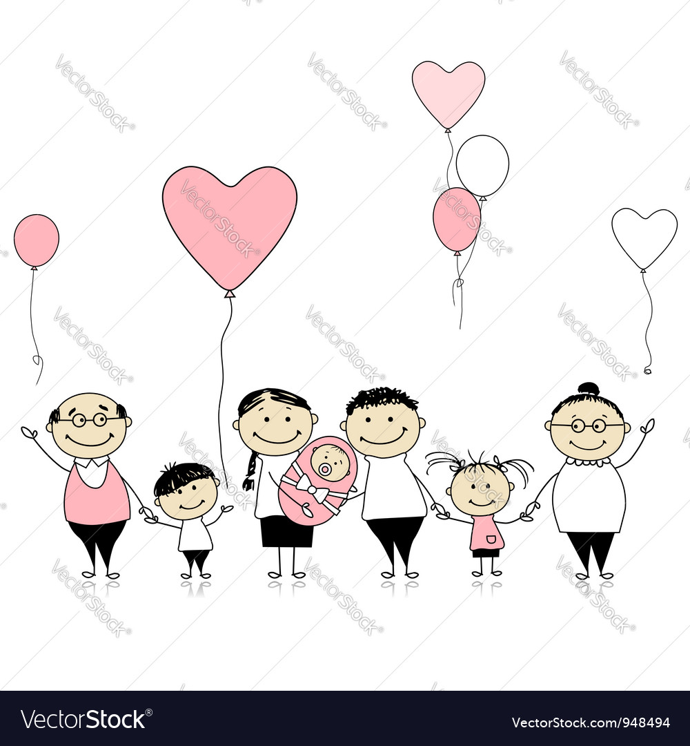 Happy birthday big family with children newborn ba vector | Price: 1 Credit (USD $1)