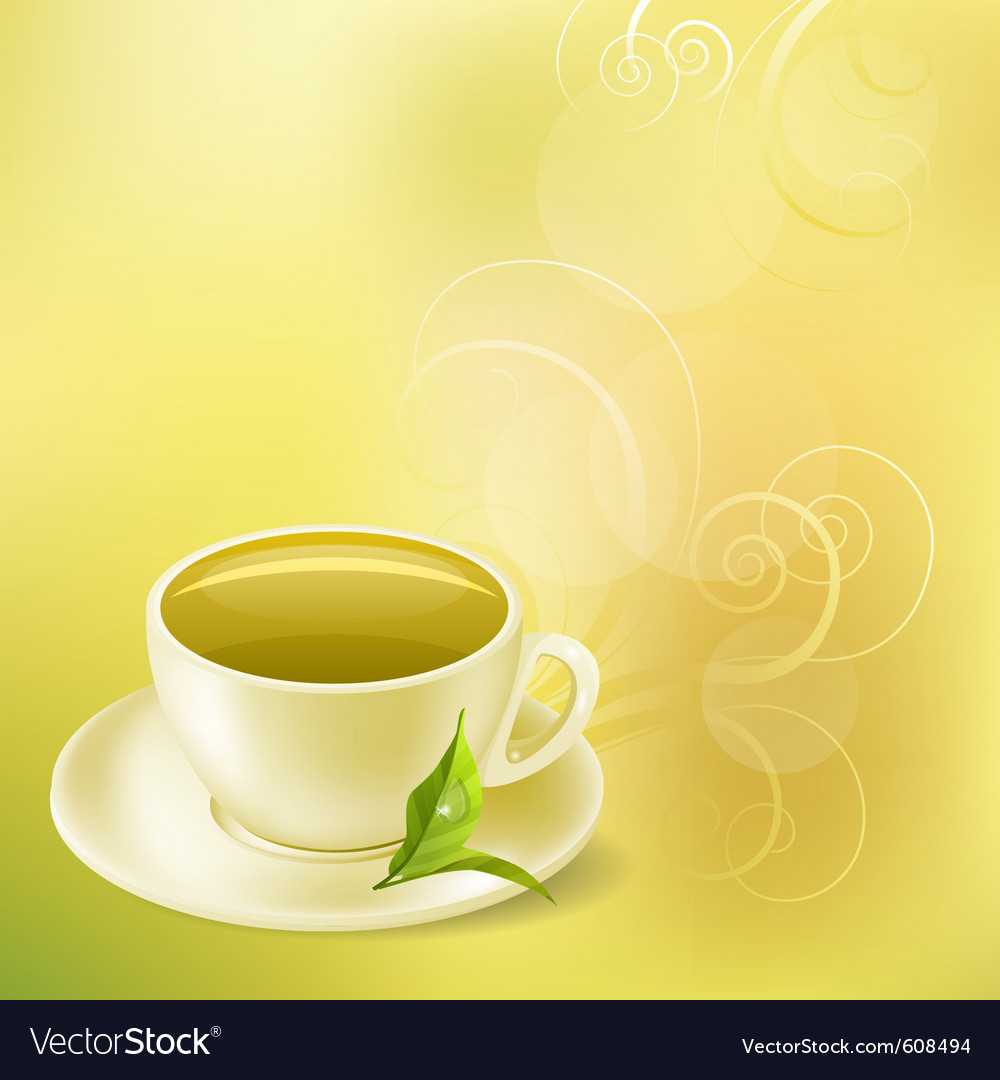 Pastel background with cup of green tea vector | Price: 1 Credit (USD $1)
