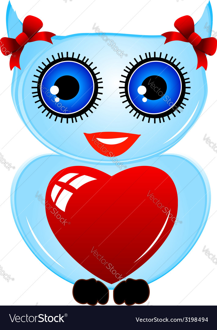 Pretty owl with a red heart vector   Price: 1 Credit (USD $1)