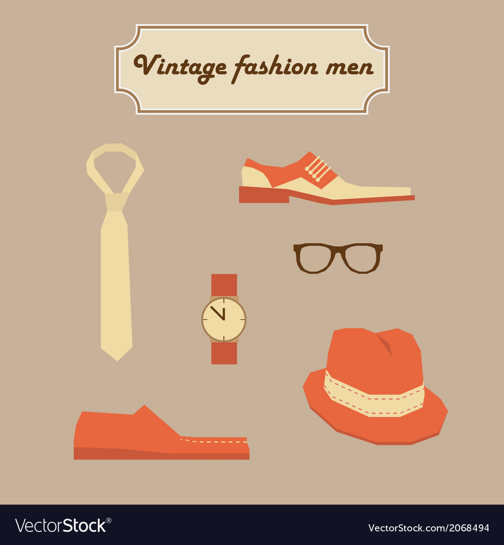 Vintage fashion men elements set vector | Price: 1 Credit (USD $1)
